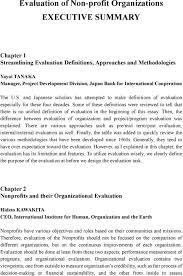 Evaluation Of Non Profit Organizations Executive Summary Pdf