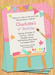 Online Printable Birthday Party Invitations Art Painting Birthday Party Invitation For Kids Printable