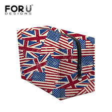 big size vine women makeup bags uk usa flag print zipper cosmetic case simple cal