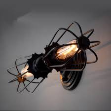 loft industrial iron cage. Loft Industrial Iron Cage. Retro Design 2 Lights Cage Rustic Sconce Wall N