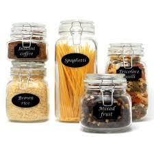details about set of 5 clip top glass storage jars airtight vintage kitchen containers m w