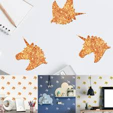 6 sheets glitter unicorns wall stickers kids bedroom removable diy decal decor 0