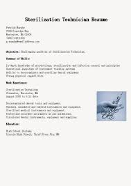 Resume Samples Sterilization Technician Resume Sample