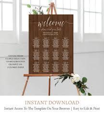 Kraft Wedding Seating Chart Poster Seating Plan Editable Template Pdf C1