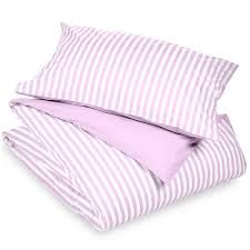 rose pink and white striped duvet cover