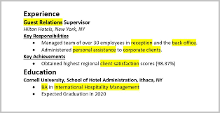 Resume Keywords Highlighted in Experience and Education