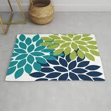 bold colorful teal green navy dahlia flower burst petals rug