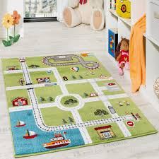 ... Children's Carpet And Rugs Play Mat City Harbour Street Town Street  Grey Green: ...