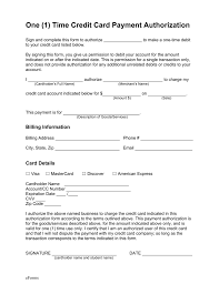 free one 1 time credit card payment authorization form pdf