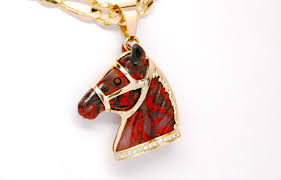 custom 14k yellow gold carved gemstone horse pendant with diamonds 0