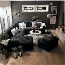 living room design with black couch