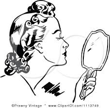 hand mirror clipart black and white. 1113749-clipart-retro-black-and-white-woman-using- hand mirror clipart black and white r