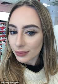 the make up artist contoured emily s cheeks and remended brown eyeliner to suit her blue