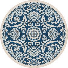 8 round navy blue oriental indoor outdoor rug garden city rc willey furniture