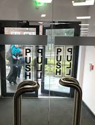 transpa push pull stickers on a glass door