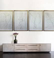 large linear banana leaf gouache on handmade paper in gold gilt frame 70cm x 100cm each