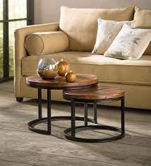 With a nesting design that saves space in any room, the modern style nesting coffee tables will be great as an end/side table, nightstand, or alternative coffee table. Reclaimed Wood Round Nesting Tables Set Of 2 Vivaterra