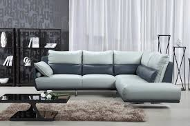 esf 6311 light grey top grain leather sectional sofa contemporary modern right reviews esf