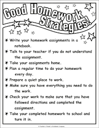 Completed Assignments Chart Good Homework Strategies Chart Printable Charts Signs