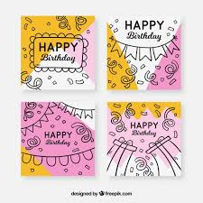 Birthday Greetings Download Free Adorable Birthday Cards Collection With Party Elements Vector Free Download