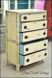 Vintage chest of drawers by Deep South Vintage. Painted in Miss Lillian's  No Wax Chalk