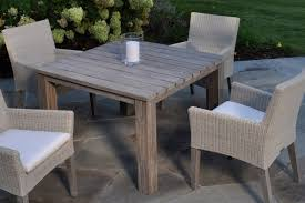 this 44 sq table is hand crafted and hand finished w painstaking care to resemble authentic antique furniture made from reclaimed teak it showcases