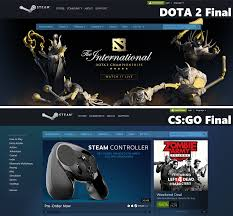 steam store page during dota 2 final vs cs go final rebrn com