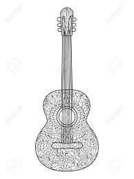 acoustic guitar coloring book for s vector ilration black and white lines lace pattern