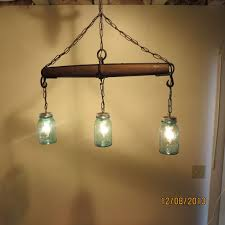 Rustic Handmade 3 Bulb Hanging Light Fixture or Lamp with Ball Canning Jars  & Horse Single Tree