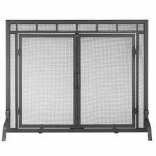 single panel fireplace screen with doors 44 w x 33 h