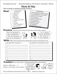 esl worksheets lesson plans 2 alta english simple have and ...