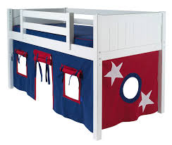 blue and red playhouse bed curtain