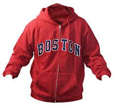 Sweatshirt Red Adult Sports Zip Hoodie Boston