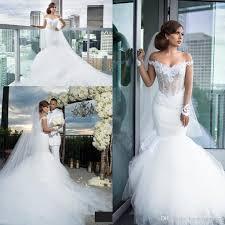 2017 gorgeous mermaid wedding dresses tiered tulle ruffles
