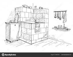 Kachelofen In Einer Ecke Vektor Illustration Eines Stils