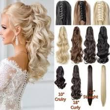 10 18 22 inch Long Curly Straight Claw Clip on Ponytail ... - Vova
