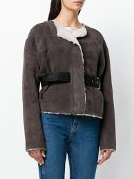 isabel marant belted jacket brown women clothing jackets fur shearling