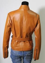 women genuine soft lambskin leather biker jacket slim fit color tan