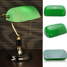 vintage green glass desk banker lamp shade cover cased replacement lampshade