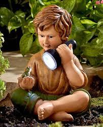 solar child children statue boy girl lantern light frog fairy lawn garden ornament