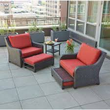 sauntera 5 piece wicker patio seating set with red cushions