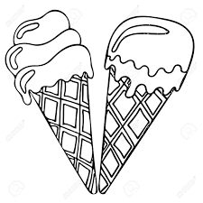 sweet and tasty black line ice cream coloring book for kids about food vector
