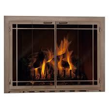ina fireplace glass door window pane