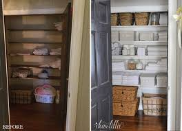 the first thing we did was pull out the shelves and paint the walls gray owl by benjamin moore and painted the shelves simply white by benjamin moore