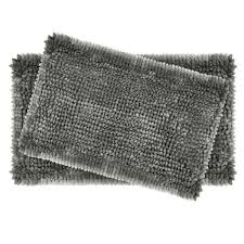 er chenille 20 in x 34 in and 17 in x 24 in 2 piece bath mat set in charcoal