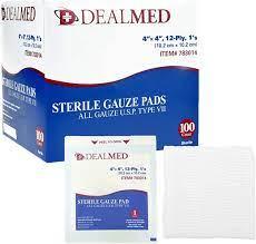 Amazon.com: Pads de gasas esterilizadas, absorbentes, embaladas  individualmente Dealmed, 100 unidades por caja , 4