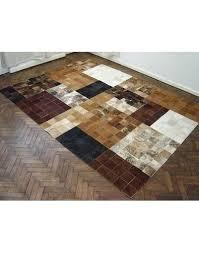 retro patchwork cowhide rug round