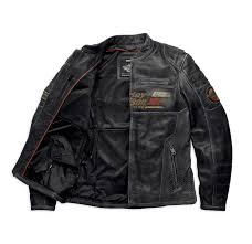 mens harley davidson classic motorcycle leather jacket with front