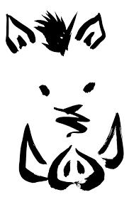2019年亥年イノシシの顔墨絵イラスト無料年賀状素材