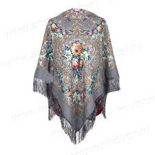 Купить Павлопосадский платок <b>&quot</b>;Тайна <b>сердца&quot</b>; серый ...